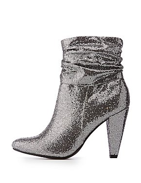 Ruched Glitter Booties
