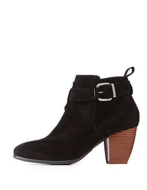Faux Suede Buckle Ankle Booties