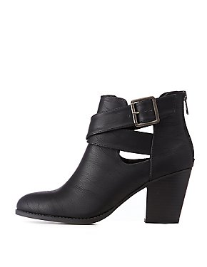 Cut Out Ankle Buckle Booties