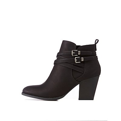 Double Buckle Ankle Booties by Charlotte Russe