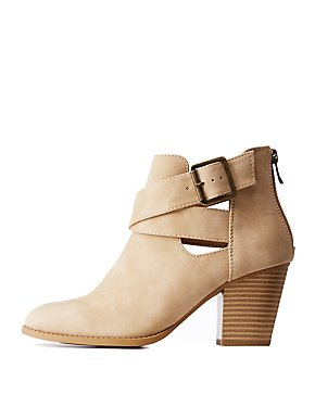 Cut Out Side Buckle Ankle Booties