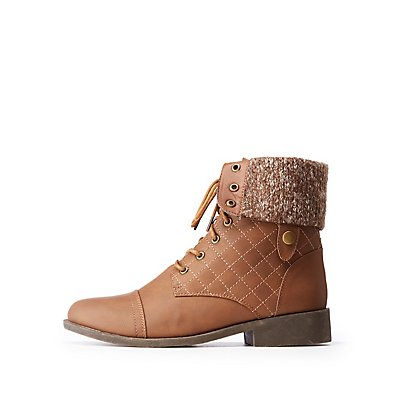 Qupid Quilted Lace Up Combat Boots