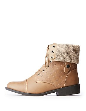 Quilted Foldover Combat Boots