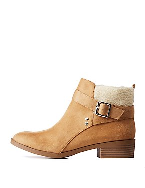Faux Suede Sherpa Trim Ankle Booties
