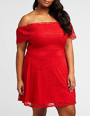 Plus Size Lace Off The Shoulder Dress