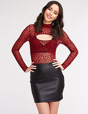 Flocked Leopard Print Bodysuit
