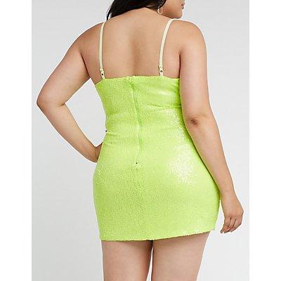 Plus Size Sequin Mini Bodycon Dress