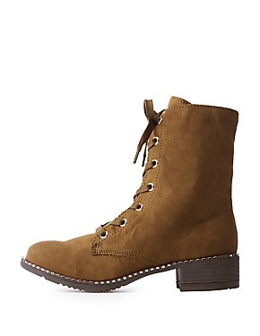Bamboo Studded Combat Boots