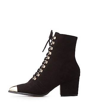 Bamboo Metal Lace Up Booties