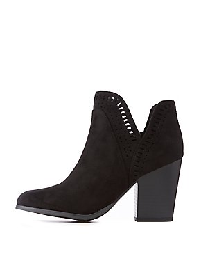 Faux Suede Laser Cut Booties