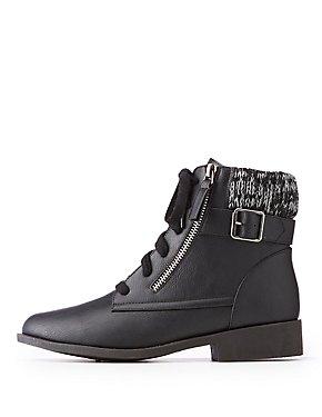 Knit Trim Combat Boots