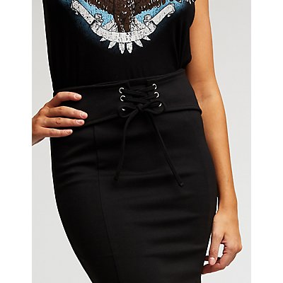 Lace Up Front Midi Skirt
