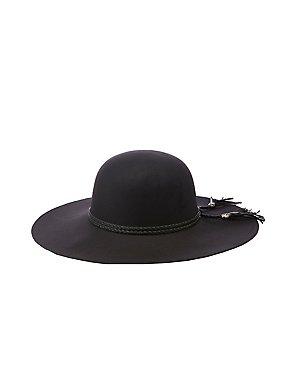 Braided Trim Felt Floppy Hat