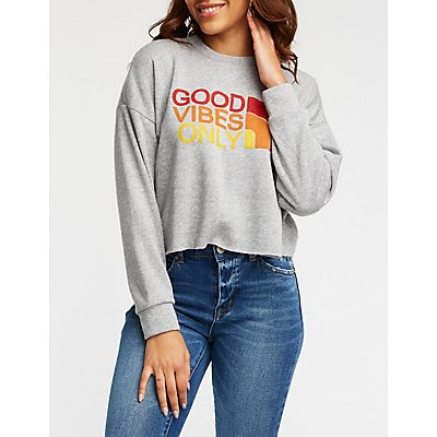 Good Vibes Crop Sweatshirt