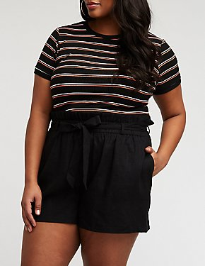 Plus Size Paperbag Shorts