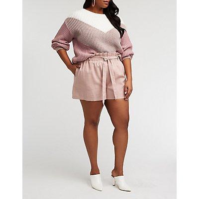 Plus Size Paperbag Shorts