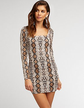 Snakeskin Print Bodycon Dress