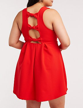Plus Size Knotted Back Skater Dress