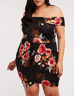 Plus Size Floral Off The Shoulder Wrap Dress