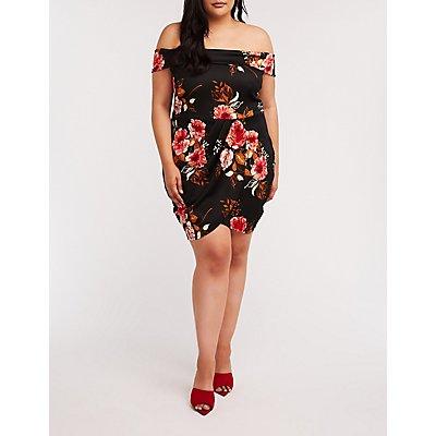 Plus Size Floral Off The Shoulder Wrap Dress