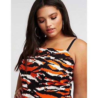 Plus Size Tiger Print Bodycon Dress
