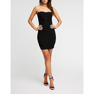 Strapless Buckle Bodycon Dress