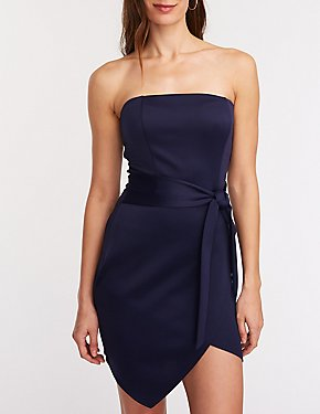 Strapless Tie Front Bodycon Dress