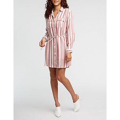 Striped Button Up Shirt Dress