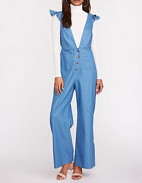 Chambray Plunge V Neck Jumpsuit