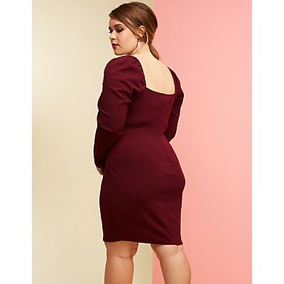 Plus Size Square Neck Bodycon Dress