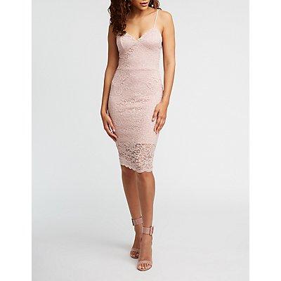 Lace Tie Back Midi Dress