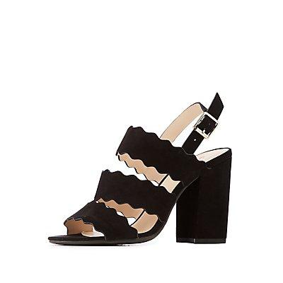 Scallop Three Band Dress Sandals
