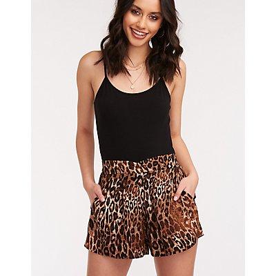 Leopard Print Pajama Style Shorts