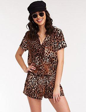 Leopard Print Pajama Style Blouse