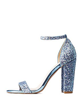 Qupid Glitter Ankle Strap Sandals