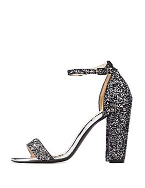 Glitter Ankle Strap Dress Sandals