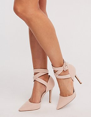 Suede Lace Up Pointed Toe Pumps