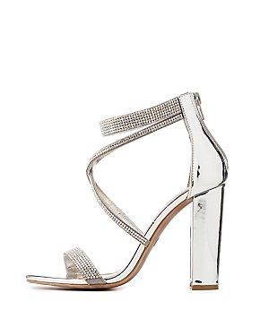 Crystal Silver Block Sandals