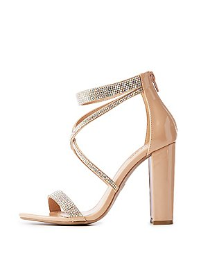 b5a49876179d Patent Leather Crystal Strappy Sandals
