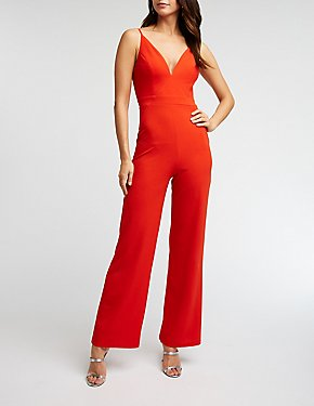 Double V Wide Leg Jumpsuit