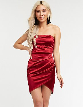 Satin Ruched Wrap Mini Dress