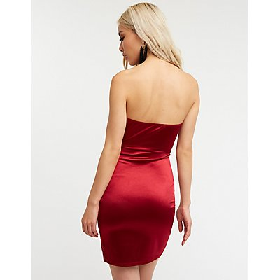 Satin Ruched Wrap Mini Dress