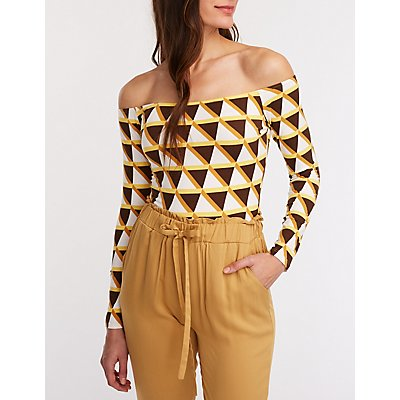 Geometric Off The Shoulder Bodysuit