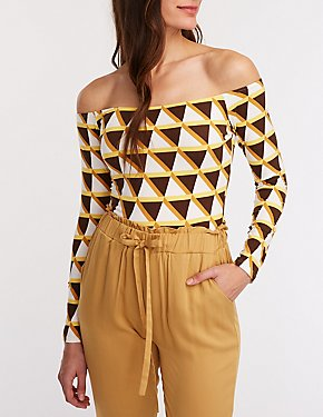 Geometric Off The Shoulder Bodysuit