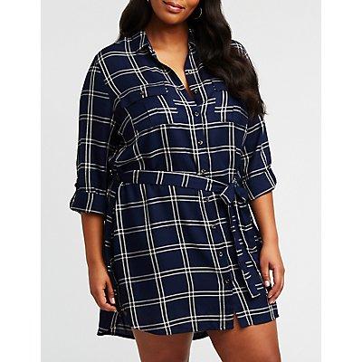 Plus Size Windowpane Button Up Shirt Dress