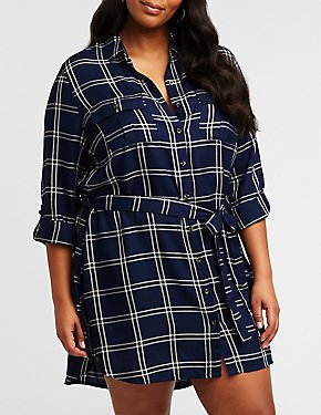 Plus Size Windowpane Button Up Shirt Dress