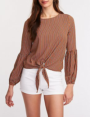 Striped Balloon Sleeve Blouse