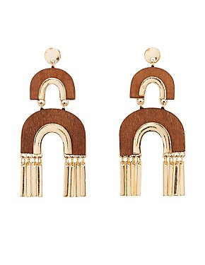 Faux Wood Drop Earrings