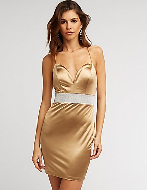 Crystal Waist Satin Bodycon Dress