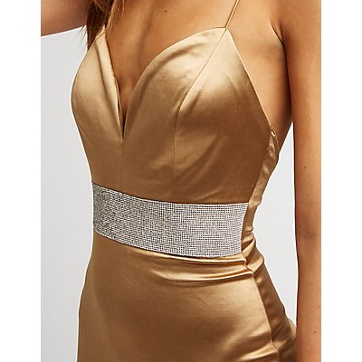 Crystal Waist Satin Bodycon Dress